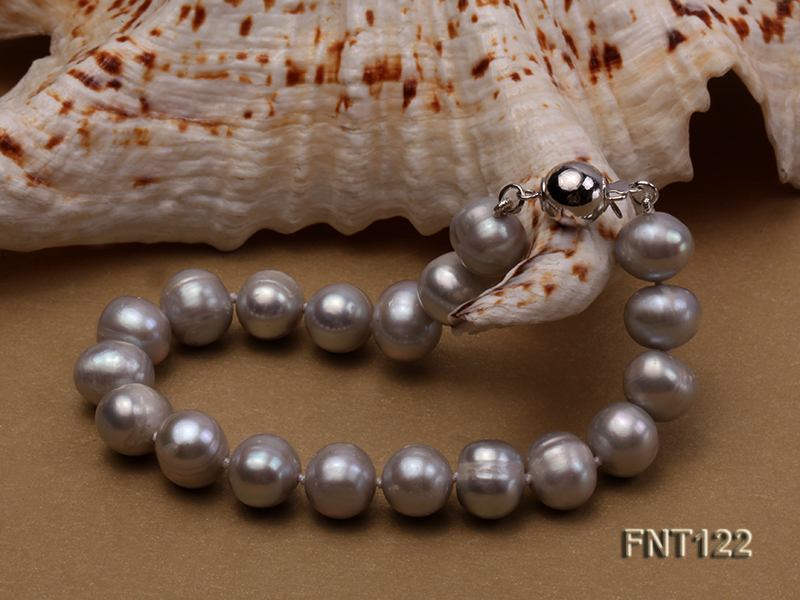 8-8.5mm Gray Freshwater Pearl Necklace, Bracelet and Earrings Set big Image 6