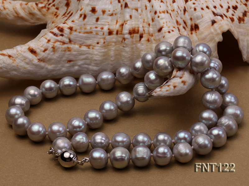 8-8.5mm Gray Freshwater Pearl Necklace, Bracelet and Earrings Set big Image 7