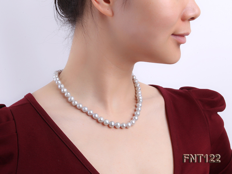 8-8.5mm Gray Freshwater Pearl Necklace, Bracelet and Earrings Set big Image 10