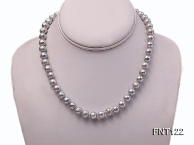 8-8.5mm Gray Freshwater Pearl Necklace, Bracelet and Earrings Set FNT122 Image 2