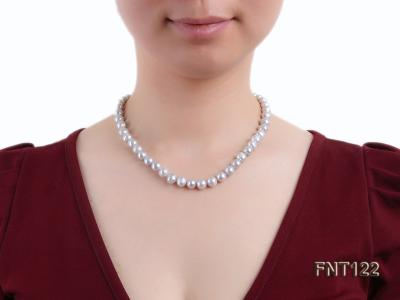 8-8.5mm Gray Freshwater Pearl Necklace, Bracelet and Earrings Set FNT122 Image 9