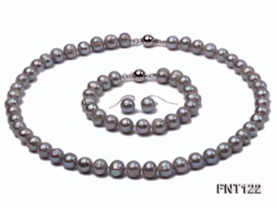 8-8.5mm Gray Freshwater Pearl Necklace, Bracelet and Earrings Set FNT122 Image 1
