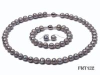 8-8.5mm Gray Freshwater Pearl Necklace, Bracelet and Earrings Set FNT122