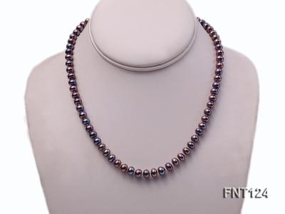 7-7.5mm Dark-purple Freshwater Pearl Necklace and Bracelet Set FNT124 Image 2