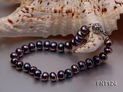 7-7.5mm Dark-purple Freshwater Pearl Necklace and Bracelet Set FNT124 Image 4