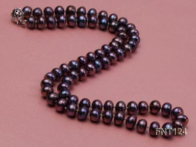7-7.5mm Dark-purple Freshwater Pearl Necklace and Bracelet Set FNT124 Image 5