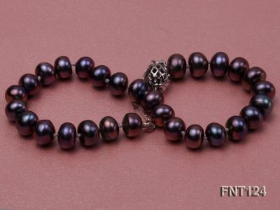 7-7.5mm Dark-purple Freshwater Pearl Necklace and Bracelet Set FNT124 Image 6