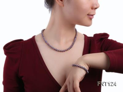 7-7.5mm Dark-purple Freshwater Pearl Necklace and Bracelet Set FNT124 Image 7