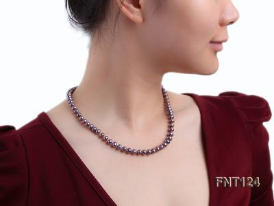 7-7.5mm Dark-purple Freshwater Pearl Necklace and Bracelet Set FNT124 Image 9