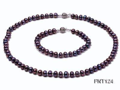 7-7.5mm Dark-purple Freshwater Pearl Necklace and Bracelet Set FNT124 Image 1