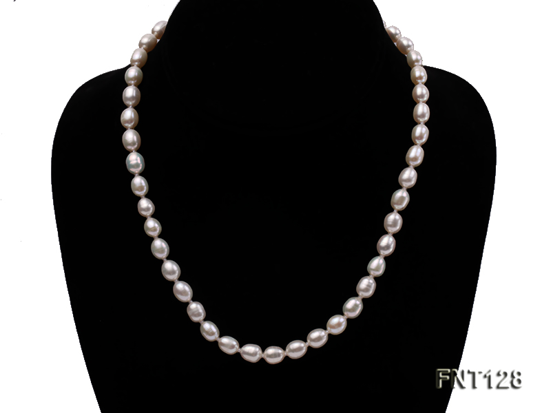 7.5x9mm White Freshwater Pearl Necklace, Bracelet and Stud Earrings Set big Image 2