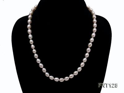 7.5x9mm White Freshwater Pearl Necklace, Bracelet and Stud Earrings Set FNT128 Image 2