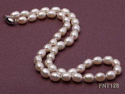 7.5x9mm White Freshwater Pearl Necklace, Bracelet and Stud Earrings Set FNT128 Image 4