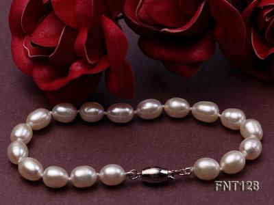 7.5x9mm White Freshwater Pearl Necklace, Bracelet and Stud Earrings Set FNT128 Image 5