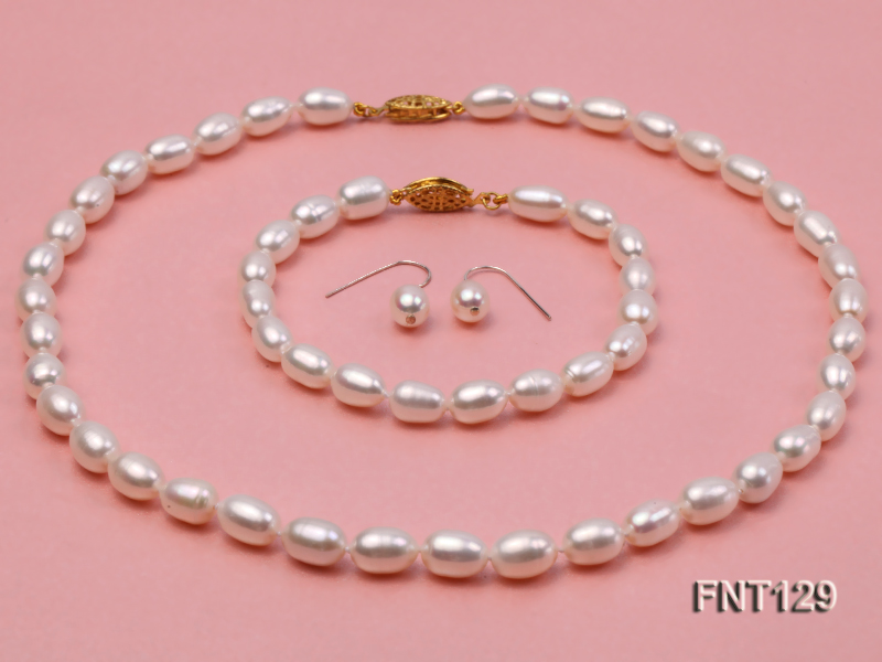 7x8mm White Freshwater Pearl Necklace, Bracelet and Stud Earrings Set big Image 1