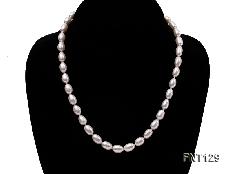 7x8mm White Freshwater Pearl Necklace, Bracelet and Stud Earrings Set big Image 2