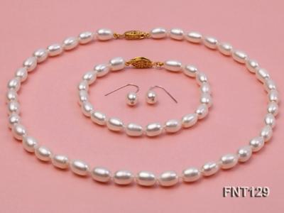 7x8mm White Freshwater Pearl Necklace, Bracelet and Stud Earrings Set FNT129 Image 1