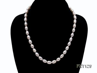7x8mm White Freshwater Pearl Necklace, Bracelet and Stud Earrings Set FNT129 Image 2