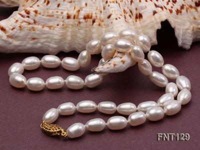 7x8mm White Freshwater Pearl Necklace, Bracelet and Stud Earrings Set FNT129 Image 4