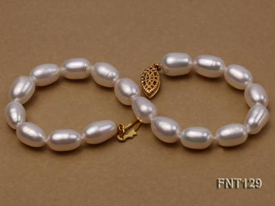 7x8mm White Freshwater Pearl Necklace, Bracelet and Stud Earrings Set FNT129 Image 7