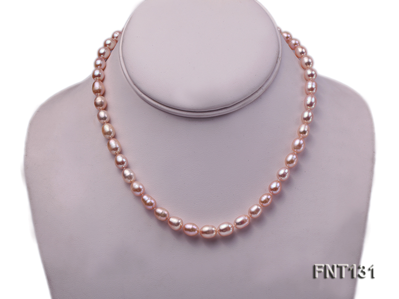 7x8mm Pink Freshwater Pearl Necklace and Bracelet Set big Image 2