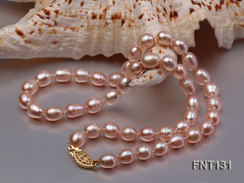 7x8mm Pink Freshwater Pearl Necklace and Bracelet Set big Image 3