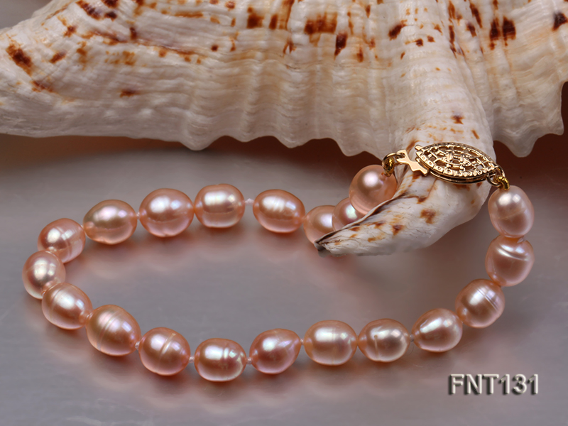 7x8mm Pink Freshwater Pearl Necklace and Bracelet Set big Image 4