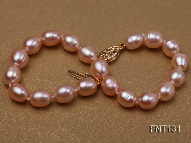 7x8mm Pink Freshwater Pearl Necklace and Bracelet Set big Image 6