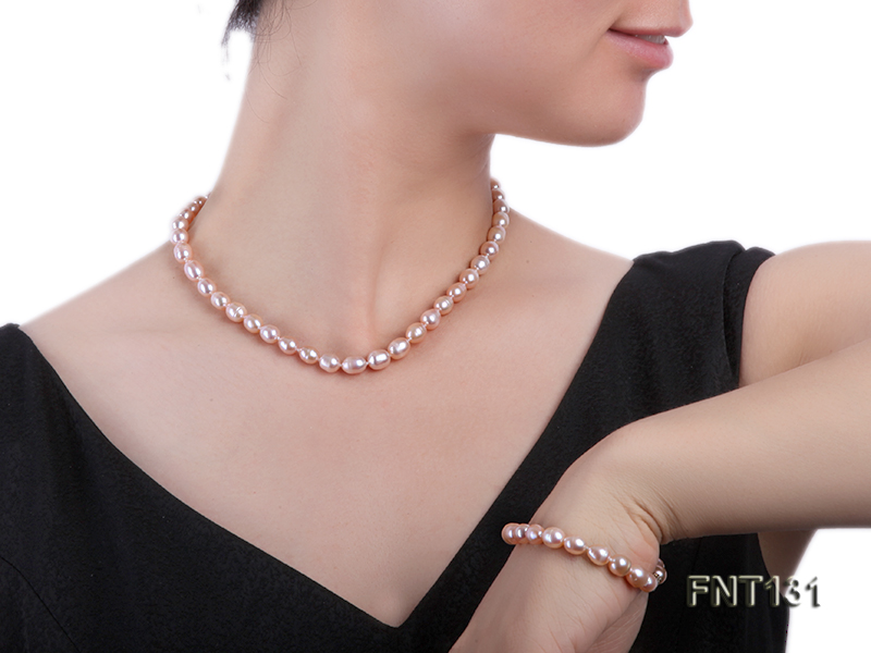 7x8mm Pink Freshwater Pearl Necklace and Bracelet Set big Image 7