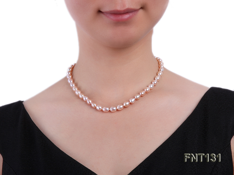 7x8mm Pink Freshwater Pearl Necklace and Bracelet Set big Image 8