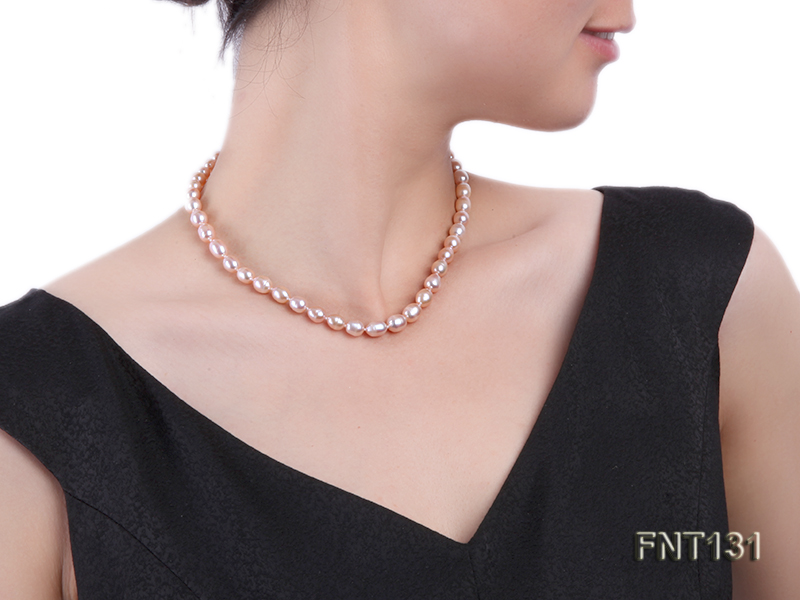 7x8mm Pink Freshwater Pearl Necklace and Bracelet Set big Image 9