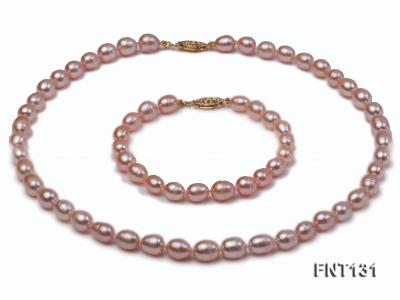 7x8mm Pink Freshwater Pearl Necklace and Bracelet Set FNT131 Image 1