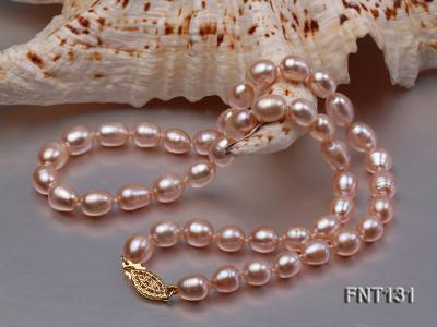 7x8mm Pink Freshwater Pearl Necklace and Bracelet Set FNT131 Image 3