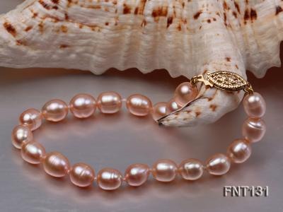 7x8mm Pink Freshwater Pearl Necklace and Bracelet Set FNT131 Image 4