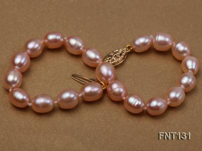7x8mm Pink Freshwater Pearl Necklace and Bracelet Set FNT131 Image 6
