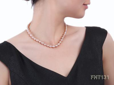 7x8mm Pink Freshwater Pearl Necklace and Bracelet Set FNT131 Image 9