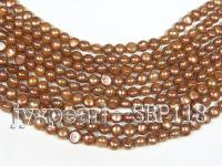 Wholesale 8-9mm Coffee Brown Flat Cultured Freshwater Pearl String SBP118