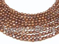 Wholesale 8-9mm Brown Flat Cultured Freshwater Pearl String SBP119
