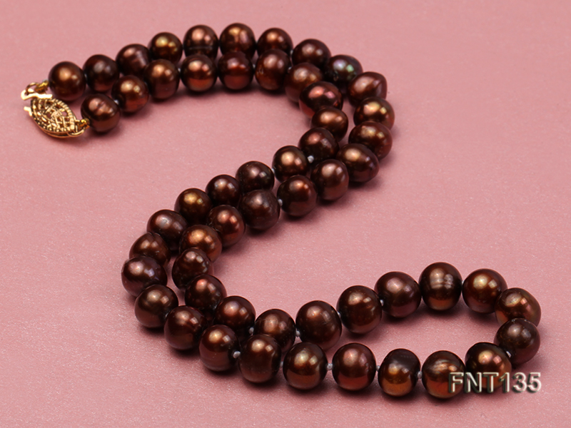 6-7mm Coffee Freshwater Pearl Necklace and Bracelet Set big Image 3