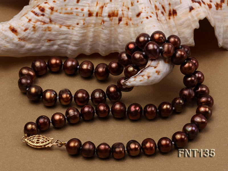 6-7mm Coffee Freshwater Pearl Necklace and Bracelet Set big Image 5