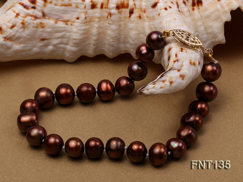 6-7mm Coffee Freshwater Pearl Necklace and Bracelet Set big Image 6