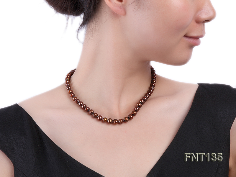 6-7mm Coffee Freshwater Pearl Necklace and Bracelet Set big Image 9