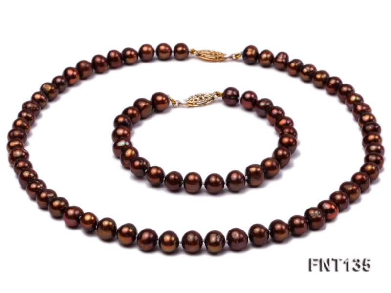 6-7mm Coffee Freshwater Pearl Necklace and Bracelet Set big Image 1