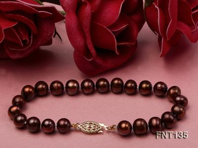 6-7mm Coffee Freshwater Pearl Necklace and Bracelet Set FNT135 Image 4