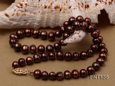 6-7mm Coffee Freshwater Pearl Necklace and Bracelet Set FNT135 Image 5