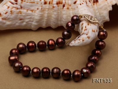 6-7mm Coffee Freshwater Pearl Necklace and Bracelet Set FNT135 Image 6