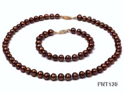 6-7mm Coffee Freshwater Pearl Necklace and Bracelet Set FNT135 Image 1