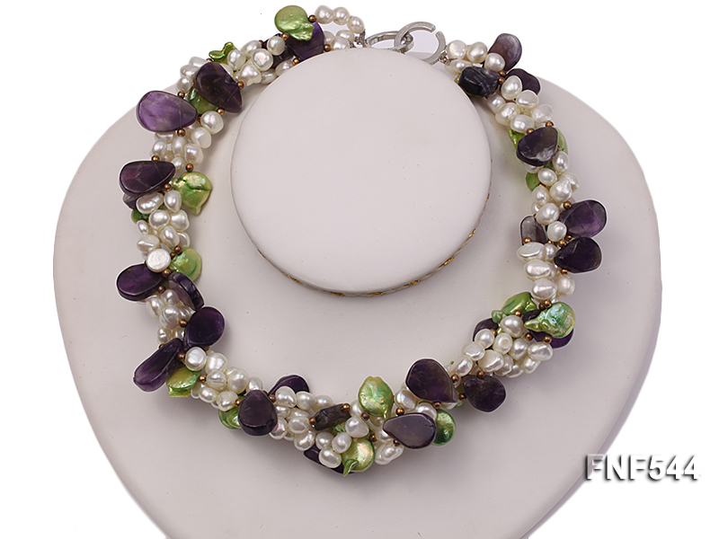 Four-strand White Freshwater Pear, Green Button Pearl and Purple Crystal Beads Necklace big Image 3