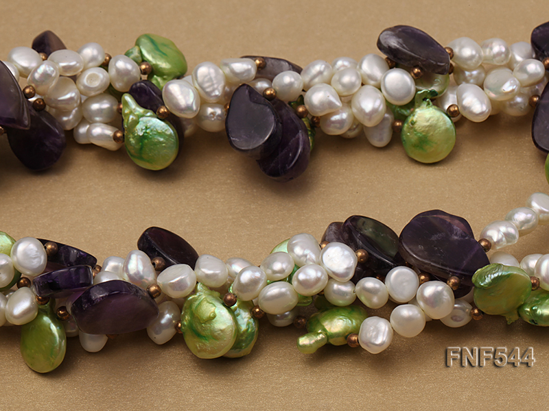 Four-strand White Freshwater Pear, Green Button Pearl and Purple Crystal Beads Necklace big Image 4
