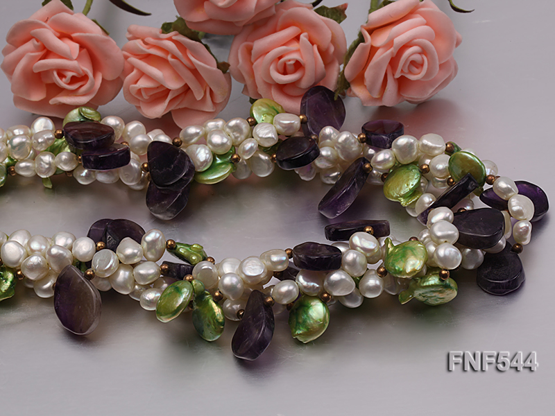 Four-strand White Freshwater Pear, Green Button Pearl and Purple Crystal Beads Necklace big Image 5